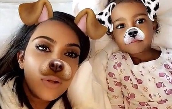 Joining In On The SnapChat-Filter;Kim K Posted Adorable Pictures Of North And Saint